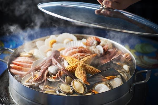 steam fish, shrimps, eggs, meat